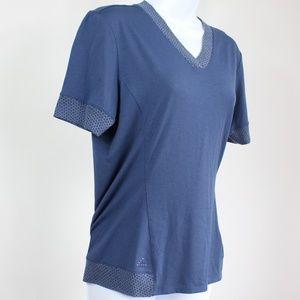 Adidas blue short sleeve t-shirt geometric trim